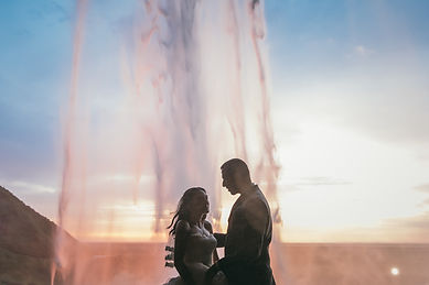 Wedding behind a waterfall in Iceland