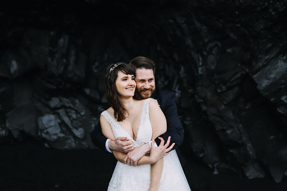 Iceland black sand beach wedding photo by Kristin Maria wedding photographer