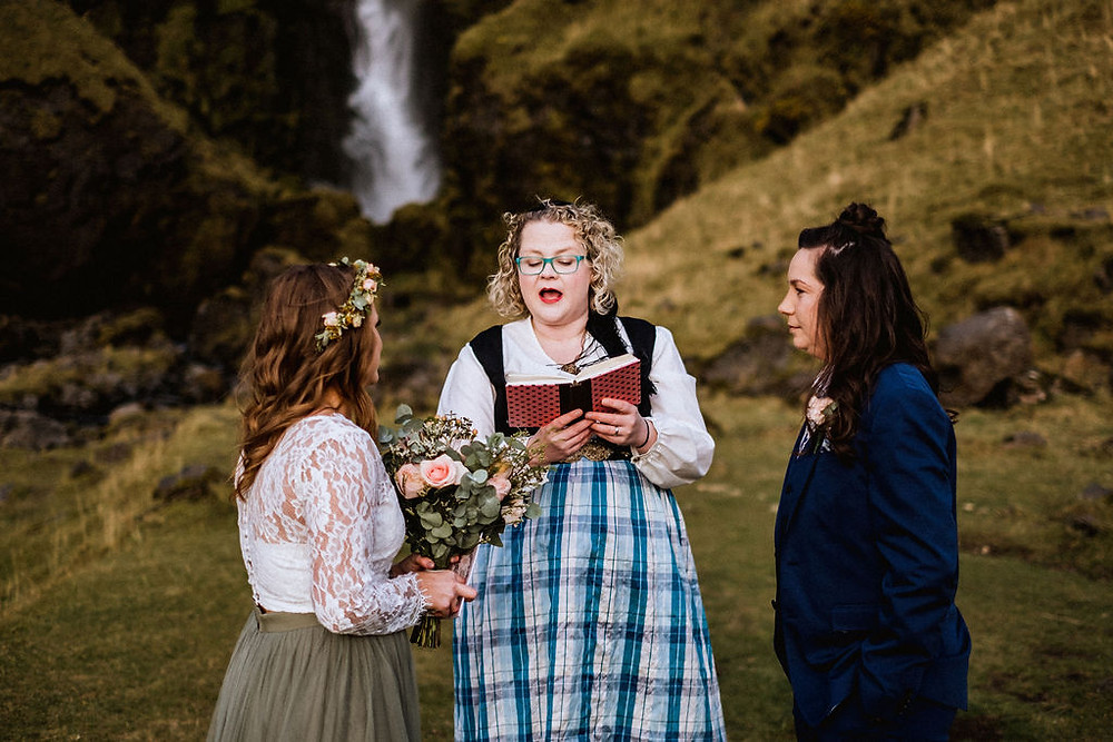 Pink Iceland Elopement in South Iceland, Humanist ceremony