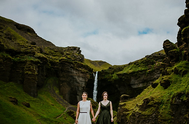 Lesbian wedding in Iceland by waterfall