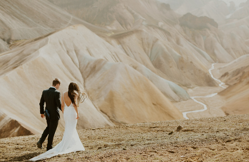 Iceland highland wedding photos in Landmannalaugar