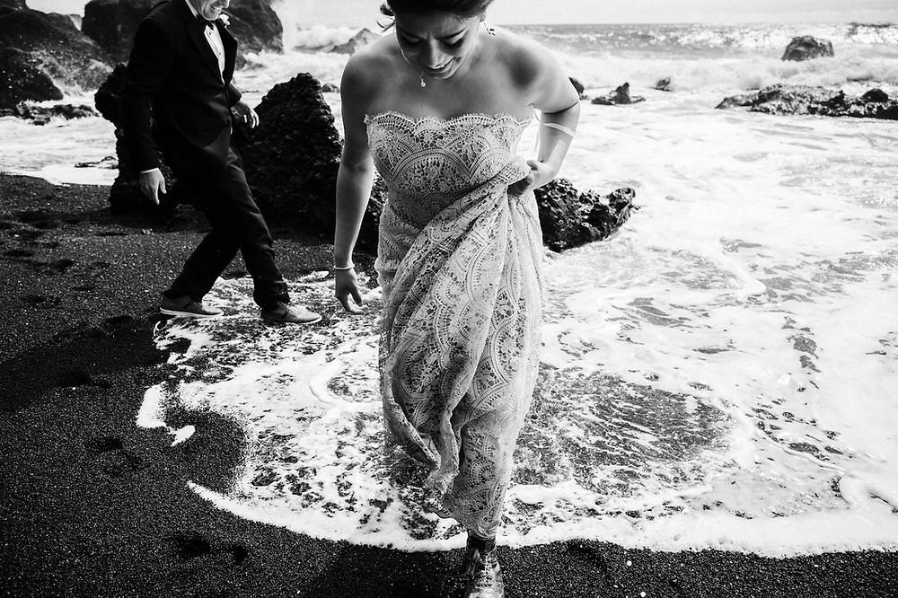 Iceland Wedding Photos in Reynisfjara Black Beach by Julie Rowland