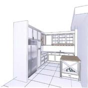 הדמיית מטבח, עם תכנון אי מוקפד לאחסון בקבוקי יין