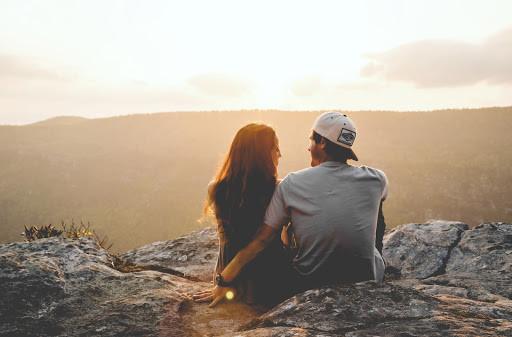 Couple together on a hike
