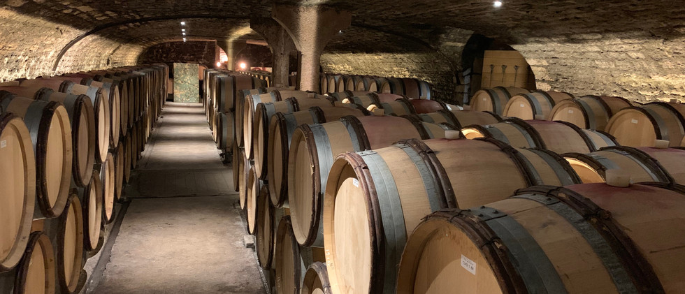 The cellar at domaine Harmand-Geoffroy