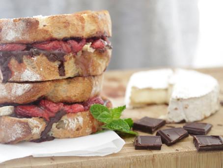 Roasted Strawberry, Dark Chocolate & Camembert Cheese Sandwich