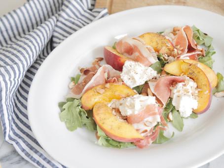 Peach, Prosciutto and Ricotta Salad with Balsamic Honey Vinaigrette