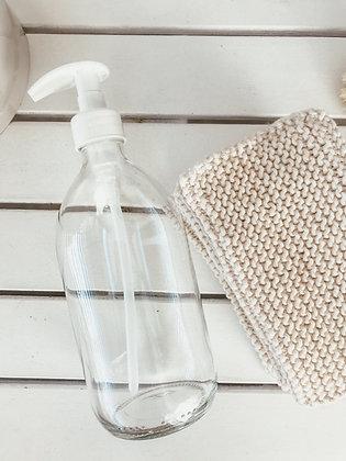 Botella transparente de cristal con dosificador blanco 500ml