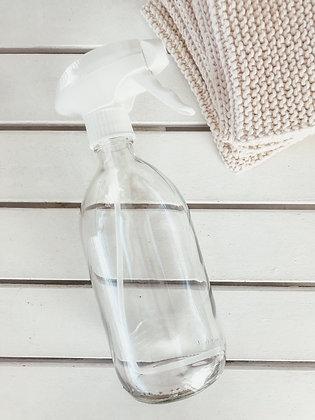 Botella transparente de cristal con vaporizador blanco 500ml