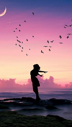 Girl-pose-birds-sea-moon-dusk-silhouette