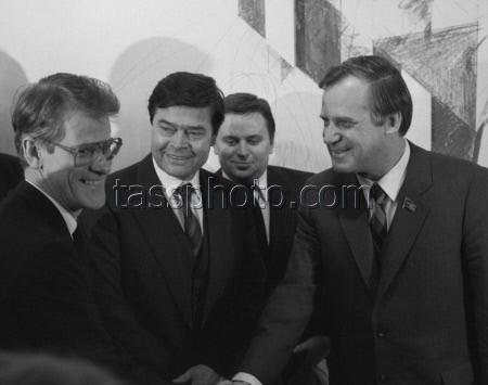 Ministerrådsordföranden i Sovjetunionen Nikolaj Ryzjkov på besök i Sverige den 14 mars 1986