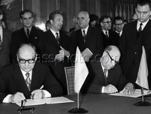 Sveriges industriminister R. Johansson på besök i Sovjetunionen den 27 oktober 1972