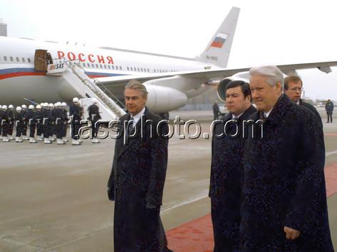 Rysslands President Boris Jeltsins på besök i Sverige den 2 december 1997