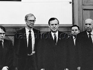 Sveriges utrikesdepartementets generalsekreterare P.Schori på besök i Sovjetunionen den 6 mars 1987