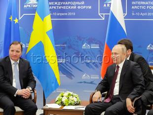 Rysslands President Vladimir Putin och Sveriges statsminister Stefan Löfven, 9.4.2019