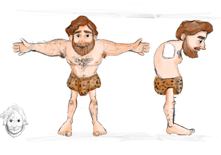 T-pose and side view sketches of caveman