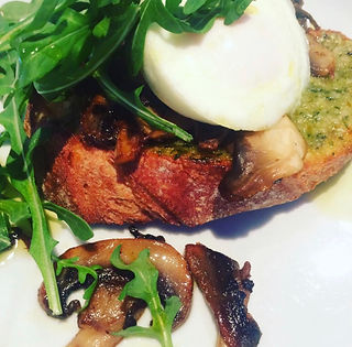 breakfast rocket basil pesto poached egg