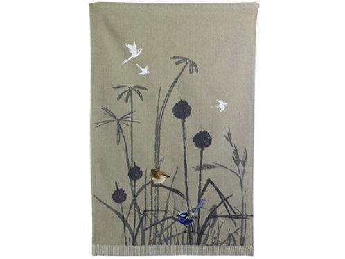 Organic Tea Towel Blue Wren