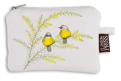Organic Cotton Purse -Yellow Robins