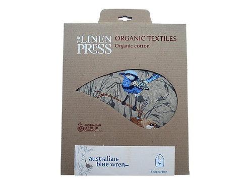Organic Tote Bag Blue Wren