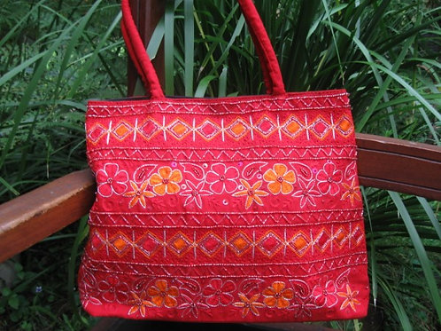 Fair Trade handbag red floral beaded