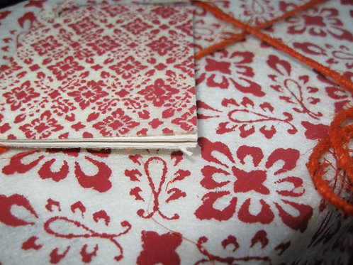 Handmade Paper Oriental flower red/card