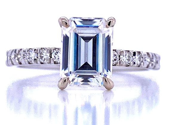 New: 14k White Gold 1.6cts (8x6 mm) Emerald Moissanite & Diamond Ring