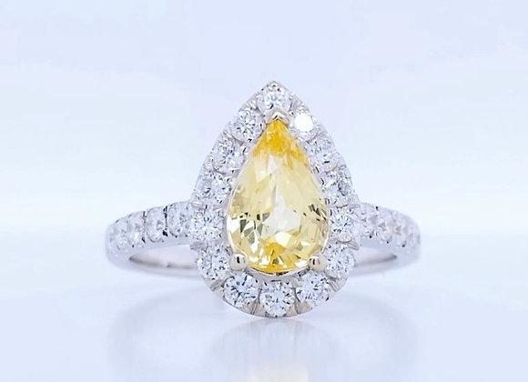 New: 18k White Gold 2.23tcw Yellow Sapphire & Diamond Ring Appraised $4580