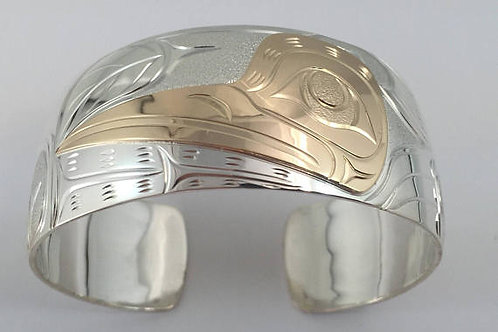 "Northwest Coast First Nations Bracelet 1"" 14k gold & Sterling Silver Hummingbird"