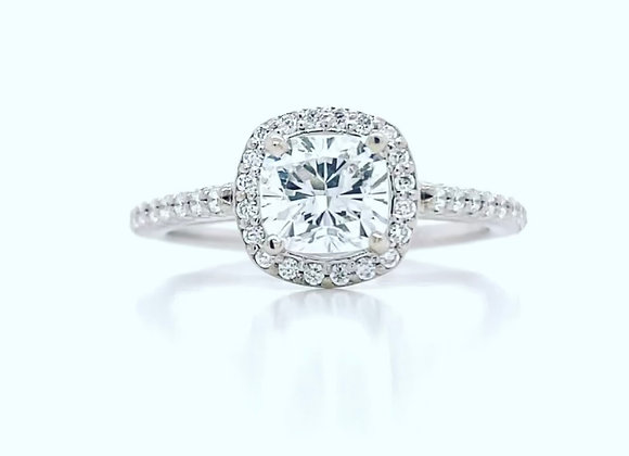 New: 18K White Gold 1.24tcw Diamond Cushion Cut Ring Appraised $4670