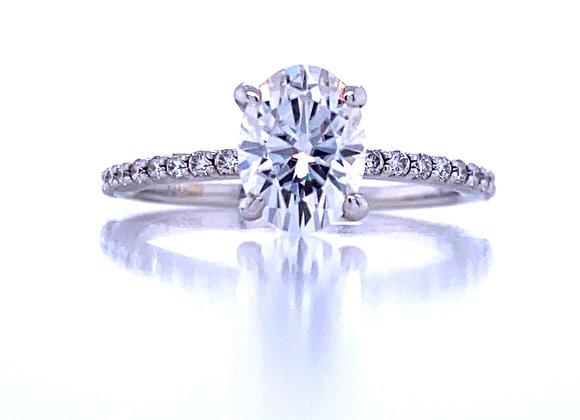New: 14k White Gold 8x6 mm Oval Moissanite & Diamond Ring