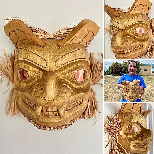 """NORTHWEST COAST First Nations Indigenous 12"""" Haida Style Bear Mask"""