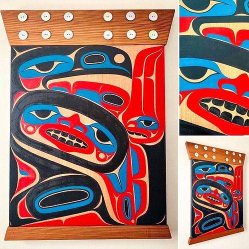 "NORTHWEST COAST First Nations Indigenous 20"" x 14"" Box Design Panel"