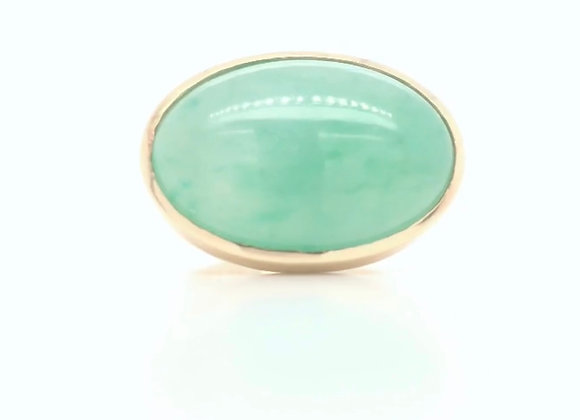New- 18k Yellow Gold Jadeite Oval Ring Gemologist Appraised $3780