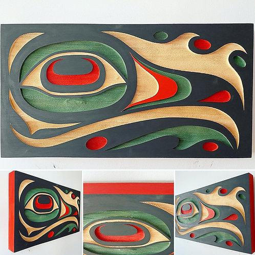 "NORTHWEST COAST First Nations Indigenous 21 x 11"" Sandblasted Cedar EAGLE Panel"