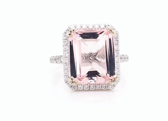 14k White Gold 4.5 ct Morganite & Diamond Ring Appraised $4120