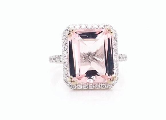 14k White Gold 4.5 ct Morganite & Diamond Ring Appraised $4120