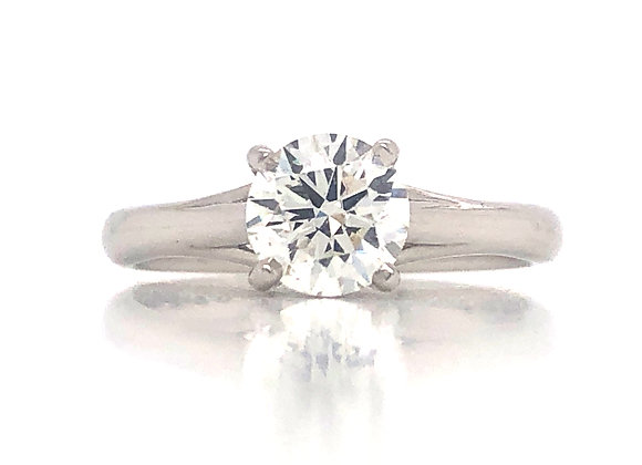 New- Platinum 0.96ct Diamond Solitaire Engagement Ring Appraised $12,380