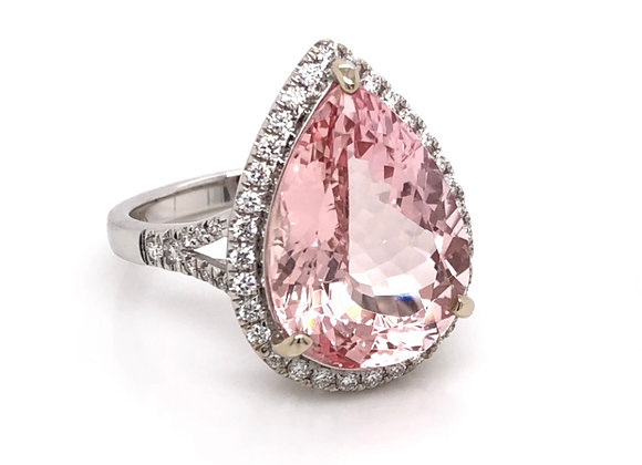 New: 18k White Gold 6ct Natural Pink Morganite & Diamond Ring Appraised $4640