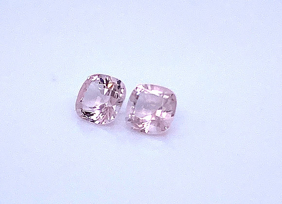 Loose- 1.66ct Pair of Natural Pink Morganite, VVS Clarity, Cushion Cut (6 x 6mm)