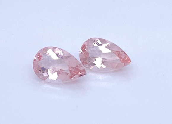 Loose- 2.49ct Pair of Natural Light Pink Morganite, VVS Clarity, Pear Shape