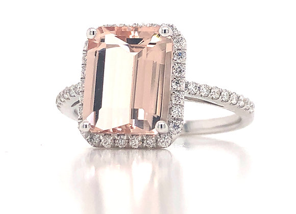 New- 18k White Gold 3ct Emerald Cut Morganite Ring Appraised $2290