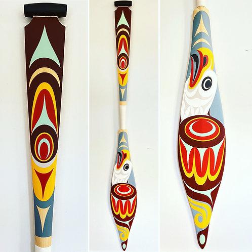 "NORTHWEST COAST Salish First Nations 62"" Eagle Paddle, Oar by Maynard Johnny Jr."
