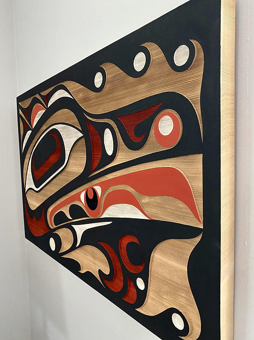 "NORTHWEST COAST First Nations 36"" x 24"" Sandblasted Cedar Kingfisher Panel"