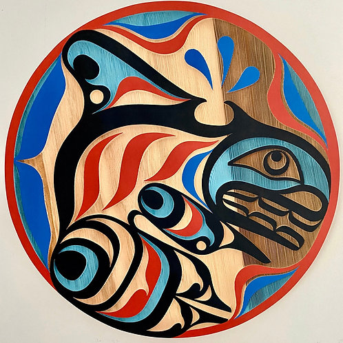 "NORTHWEST COAST First Nations 24"" Sandblasted Orca Panel"