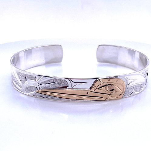 "North West Coast First Nations 3/8"" 14k & Sterling Silver Hummingbird Bracelet"