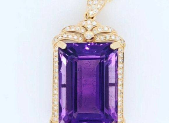 New- 14k Yellow Gold 10.7 ct Natural Amethyst & Diamond Pendant Appraised $3580