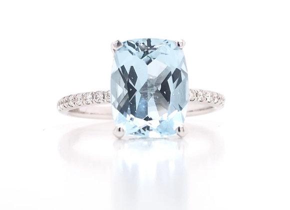 New: 18k White Gold 3ct Aquamarine Ring & Diamond Ring Appraised $3620