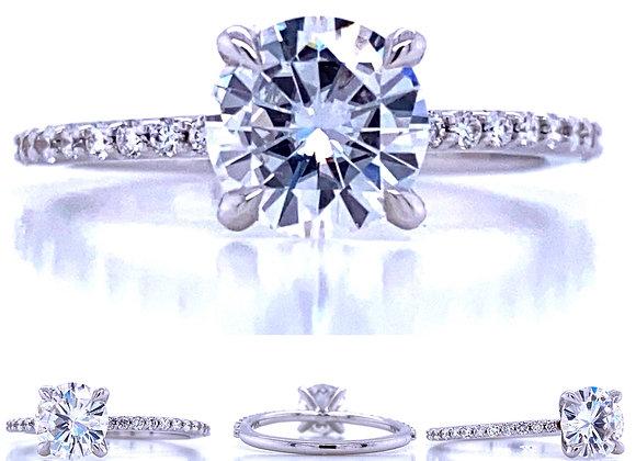 New: 14k White Gold 7mm Round Moissanite & Diamond Ring