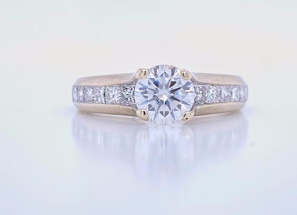 Estate: 14k White Gold 6mm Round Moissanite & Diamond Ring Appraised $3580